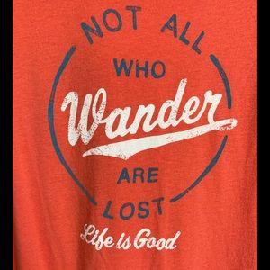 Life Is Good Orange Not All Who Wonder Shirt Sz M